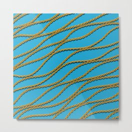 Wave Gold Chain Blue Metal Print