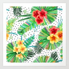 Tropical Watercolor Hibiscus & Plumeria Art Print