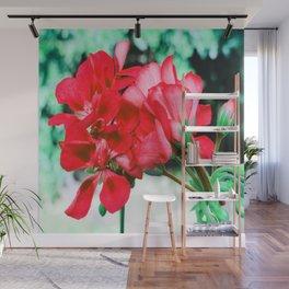 Red FlowERS Green Bokeh Wall Mural