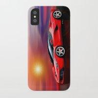 ferrari iPhone & iPod Cases featuring Red Ferrari by JT Digital Art