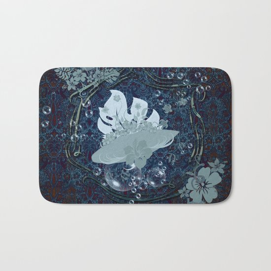 Surfing, surfboard with flowers Bath Mat