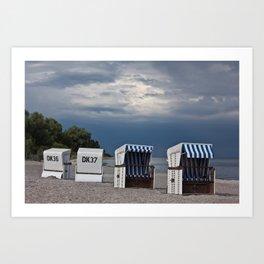 evening at the beach in boltenhagen Art Print