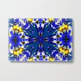 Yellow & Blue Daises Metal Print