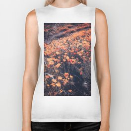 blooming yellow poppy flower field in California, USA Biker Tank