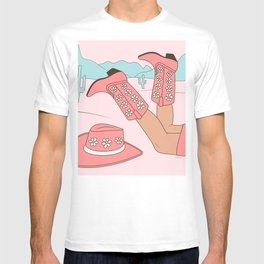 Chillin, Girl in Cowboy Boots with Hat in the Desert Enjoying Life Pastel Blush Pink and Mint Color T-shirt
