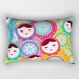 Russian dolls matryoshka, pink blue green colors colorful bright pattern Rectangular Pillow