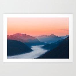 Foggy river Soča at sunrise Art Print
