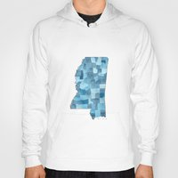 blueprint Hoodies featuring Mississippi Counties Blueprint watercolor map by Anne E. McGraw