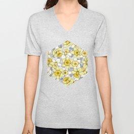 Daffodil Daze - yellow & grey daffodil illustration pattern Unisex V-Neck