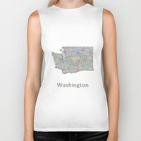 washington Biker Tanks featuring Washington map by David Zydd