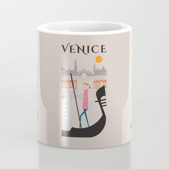 Venice - In the City  - Retro Travel Poster Design Coffee Mug