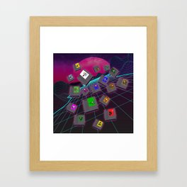 Retro 80s Synthwave Game Cartridge Collage Framed Art Print