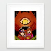 gravity falls Framed Art Prints featuring gravity falls by Twylluan