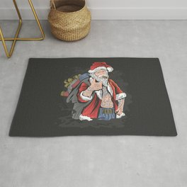 "Tattooed Santa Claus and his bag full of ""alternative"" Christmas gifts. Rug"