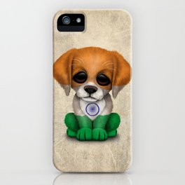 Cute Puppy Dog with flag of India iPhone Case