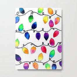 Colorful Christmas Holiday Light Bulbs Metal Print