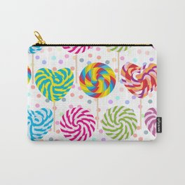 lollipops pattern, colorful spiral candy cane with twisted design Carry-All Pouch