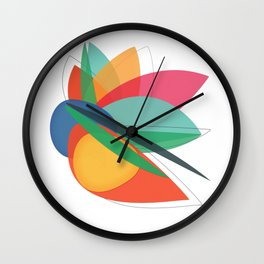 Abstract multicolored tropical flower, bird of paradise, superimposed shapes and transparencies Wall Clock