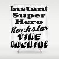super hero Shower Curtains featuring SUPER Hero RockStar by beoriginal