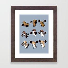 Olympic Lifting Beagles Framed Art Print