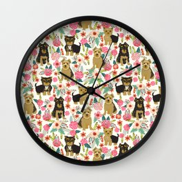 Yorkshire Terrier cute florals must have gifts for dog lover yorkie owners delight secret gifts art Wall Clock