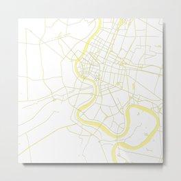 Bangkok Thailand Minimal Street Map - Pastel Yellow and White Metal Print