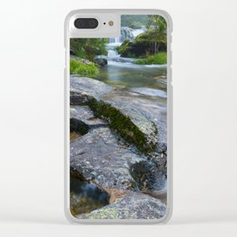 Waterfalls in wild forest Clear iPhone Case