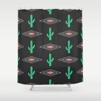 navajo Shower Curtains featuring Navajo Saguaro by Mark Baker-Sanchez