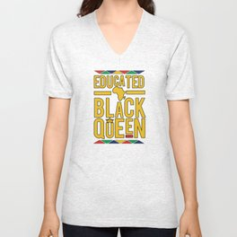 Educated black queen crown Unisex V-Neck