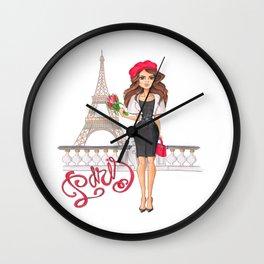 Parisian Girl Hand-Painted Eiffel Tower Fashion Illustration Paris Lettering Wall Clock