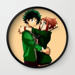Izuku Midoriya with ochako Uraraka Wall Clock