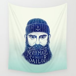 CALM SEAS NEVER MADE A SKILLED (Blue) Wall Tapestry