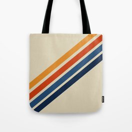 Retro 70s Stripe Colorful Rainbow Tan Classic Vintage Tote Bag