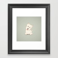 Westie Dog Illustration Framed Art Print