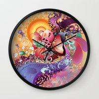 koi Wall Clocks featuring Koi by Nick La