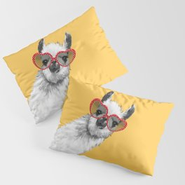 Fashion Hipster Llama with Glasses Pillow Sham