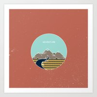 adventure is out there Art Prints featuring Adventure by Out There Studio