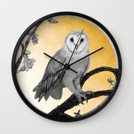 Golden Owl Wall Clock