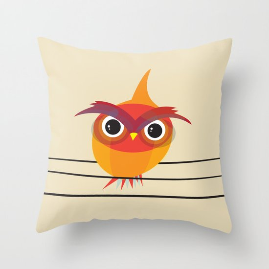 Owl On A Wire Throw Pillow