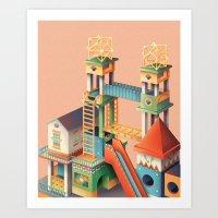 escher Art Prints featuring Escher playground  by Chiara Vercesi