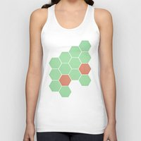 honeycomb Tank Tops featuring Mint Honeycomb by Cassia Beck