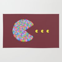 pacman Area & Throw Rugs featuring pacman  by gazonula