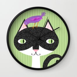 Tuxedo Cat and Purple Bird Wall Clock
