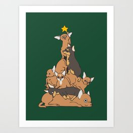 Christmas Tree Chihuahua Art Print