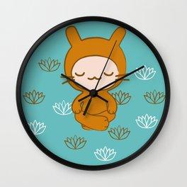 Yoga Lotus Bunny Illustration Wall Clock