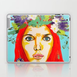 Red haired girl with flowers in her hair Laptop & iPad Skin