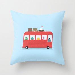 Funny Bus Throw Pillow