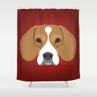 beagle Shower Curtains featuring Beagle by Three Black Dots