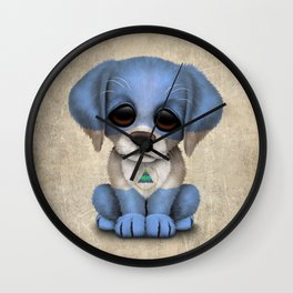 Cute Puppy Dog with flag of Nicaragua Wall Clock