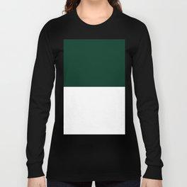 White and Deep Green Horizontal Halves Long Sleeve T-shirt